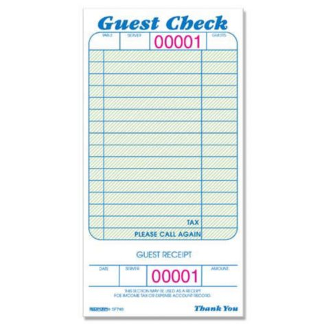 """Guest Check Pads - 3-3/8"""" x 6-1/2"""" - 10 pk."""