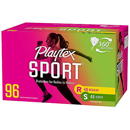 Playtex Sport Tampons, Uncented, Regular and Super Multi Pack (96 ct.)