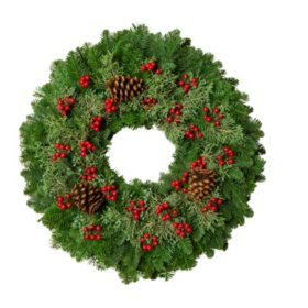 "Fresh Greens 24"" Christmas Berry Wreath"
