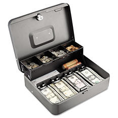 SteelMaster - Tiered Cash Box with Bill Weights, 12 in, Cam Key Lock -  Charcoal