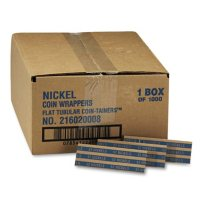 Coin-Tainer Company Pop-Open Flat Paper Coin Wrappers - Nickels - 1,000 ct.