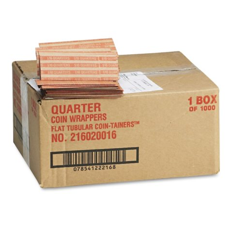 Coin-Tainer Company Pop-Open Flat Paper Coin Wrappers - Quarters - 1,000 ct.