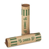 Coin-Tainer Company - Preformed Tubular Coin Wrappers, Dimes, $5 -  1000 Wrappers/Box