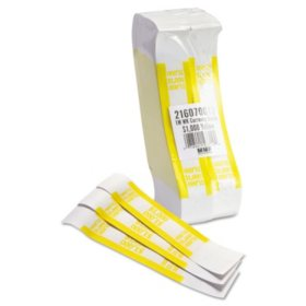 Coin-Tainer Company Self-Adhesive Currency Straps, Yellow, $1,000 in $10 Bills (1000 bands/box)
