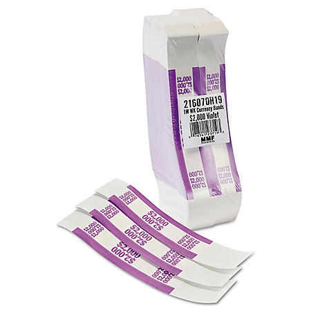 Coin-Tainer Company Self-Adhesive Currency Straps, Violet, $2,000 in $20 Bills (1000 bands/box)