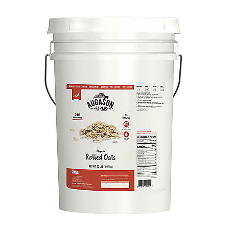 Augason Farms Regular Rolled Oats Pail (20 lbs.)