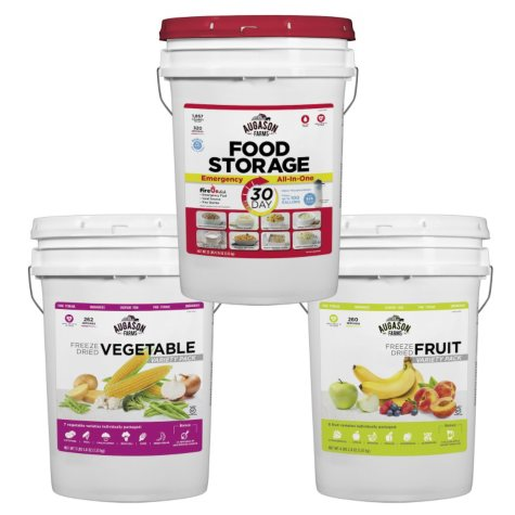 Augason Farms Fruit, Veggie and Emergency All-in-One Pail Kit (3 pails)