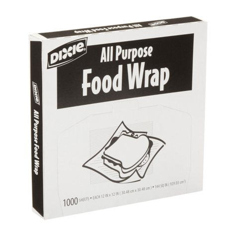 """Dixie - All Purpose Food Wrap, 12"""" x 12"""" - 1,000 Sheets"""
