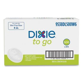 Dixie To Go Dome Plastic Hot Cup Lids, White Lids (8 oz., 500 ct.)