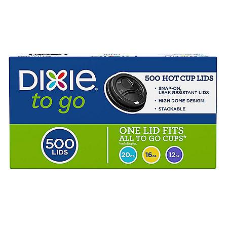 Dixie To Go Domed Hot Cup Plastic Lids, Black, Fits 12oz./16oz./20oz. (500 ct.)