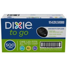 Dixie To Go? Domed Hot Cup Plastic Lids, Black, Fits 12oz./16oz./20oz. (500ct.)