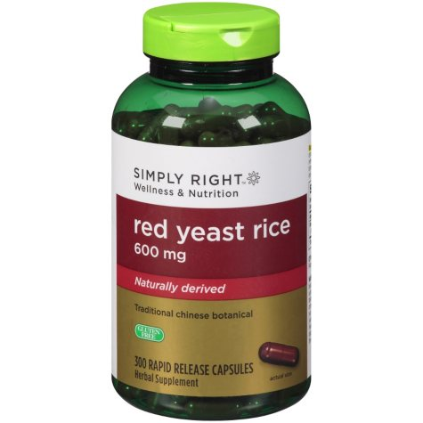 Simply Right Red Yeast Rice Herbal Supplement (300 ct.)