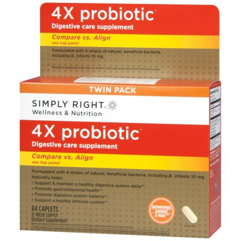 Simply Right 4x Probiotic Digestive Care Supplement Caplets (84 ct.)