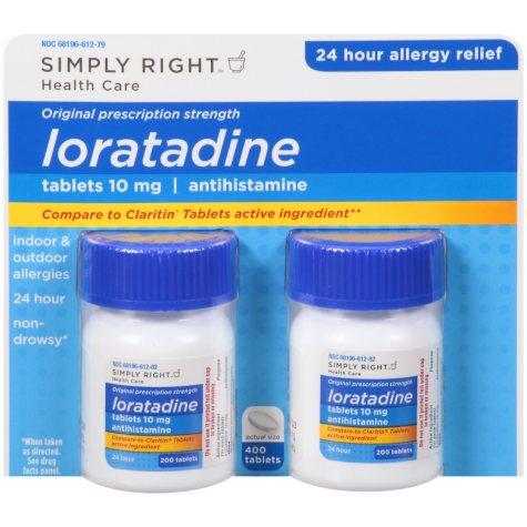 Simply Right Loratadine Antihistamine (200 ct.,2 pk)