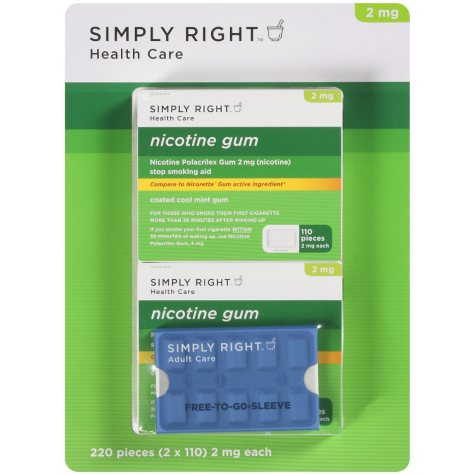 Simply Right Coated Cool Mint Nicotine Gum (110 pc., 2 pk.)