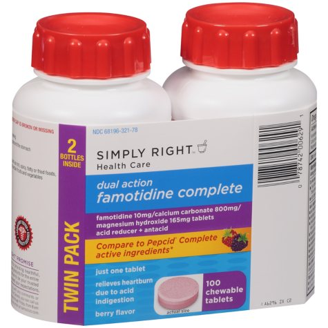 Simply Right Famotidine Complete Acid Reducer + Antacid - 100 ct.