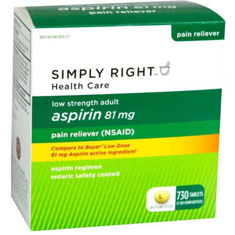 Simply Right Adult Aspirin - 81mg - 730 ct.