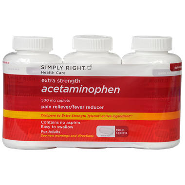 Simply Right Extra Strength Acetaminophen 500mg Caplets - 1500 ct.