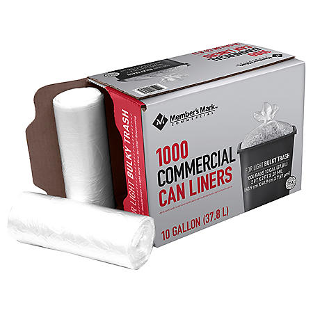 Member's Mark 7-10 Gallon Commercial Trash Bags (10 rolls of 100 ct., total of 1000 ct.)