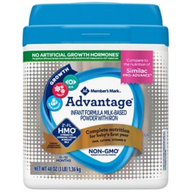 Member's Mark HMO Non-GMO Infant Formula, Advantage (48 oz.)