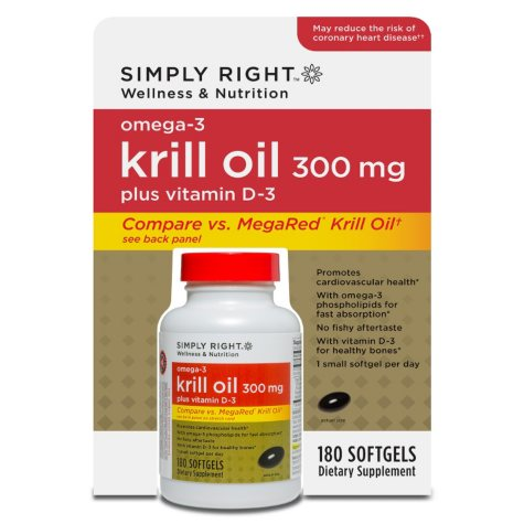Simply Right Omega-3 Krill Oil Softgels with Vitamin D-3 - 180 ct.