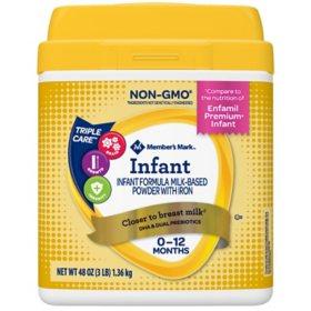 Member's Mark Premium Non-GMO Infant Formula, Infant (48 oz.)