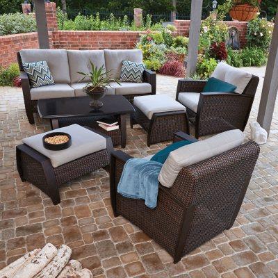 Memberu0027s Mark Brooklyn 6 Piece Deep Seating Set With Premium Sunbrella  Fabric