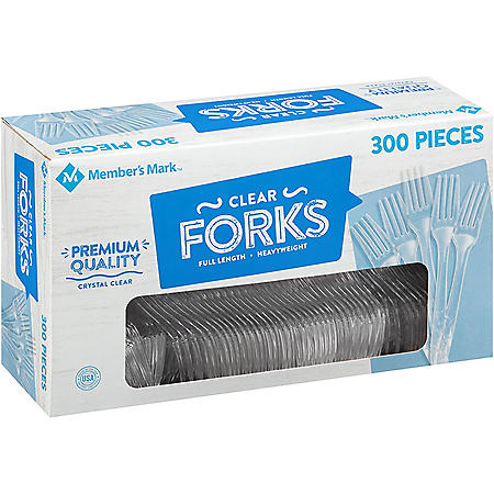 Member's Mark Clear Plastic Forks, Heavyweight (300 ct.)