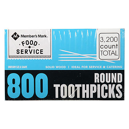 Member's Mark Round Toothpicks (4 boxes, 800 ct. each)