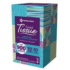 Member's Mark 3-Ply Facial Tissue (12 pk., 80 tissues per box)