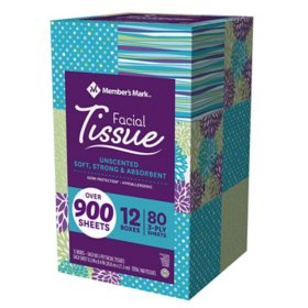 Member's Mark 3-Ply Soft and Strong Facial Tissue, 12 pk., 960 tissues (80 ct. per box)