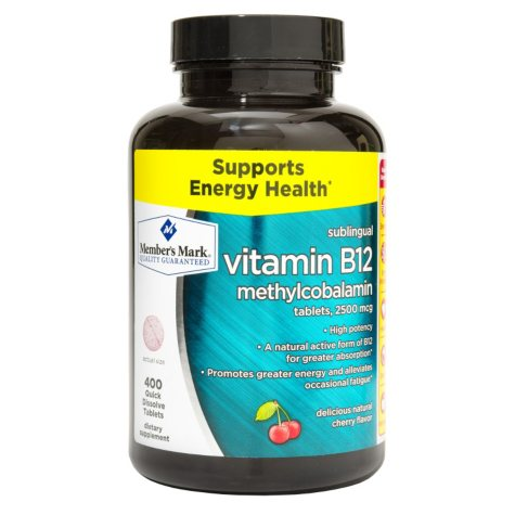 Member's Mark Sublingual Vitamin B12 2500mcg Dietary Supplement (400 ct.)