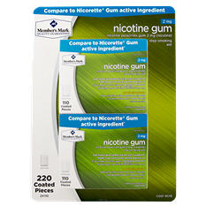 Member's Mark 2mg Nicotine Gum, Cool Mint (220 ct.)