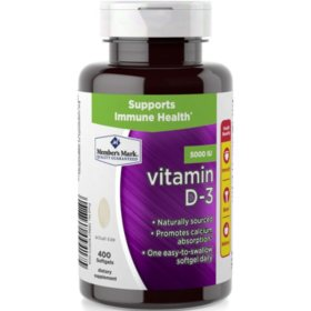Member's Mark Vitamin D-3 5000 IU Dietary Supplement (400 ct.)