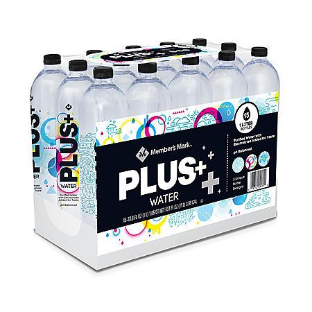 Member's Mark Plus+ Purified Electrolyte Water (1 L/ 15 pk.)