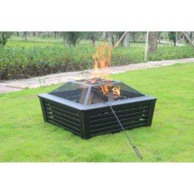 "35"" Square Metal Fire Pit"