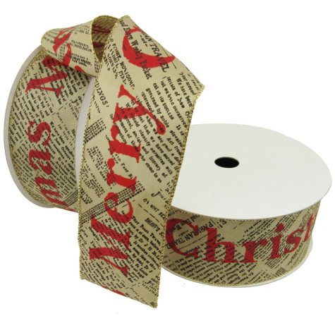 "Member's Mark Premium Wired Ribbon, Merry Christmas on Newsprint Taupe Satin 2.5"" (2 pk., 50 yd. each)"