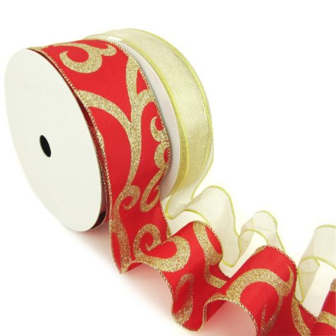 "Member's Mark Premium Wired Ribbon, Gold Woven Metallic 1.5"" and Glitter Swirls on Red Satin 2.5"" (2 pk., 50 yd. each)"