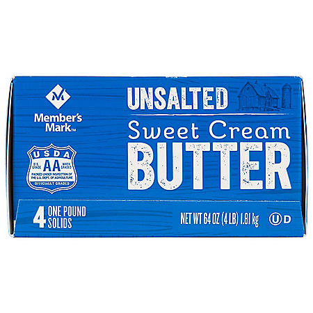 Member's Mark Unsalted Sweet Cream Butter (1 lb. Elgin-Style Solids, 4 ct.)