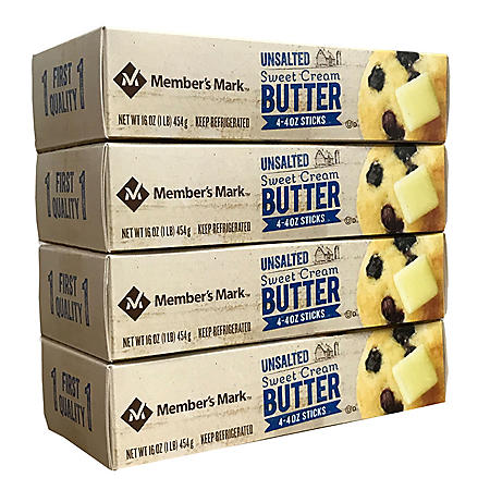 Member's Mark Unsalted Sweet Cream Butter (4 oz. Western-Style Sticks, 16 ct.)
