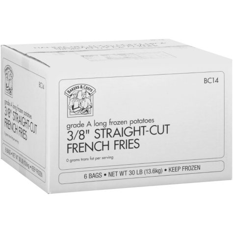 Bakers & Chefs Straight Cut French Fries - 30 lbs.