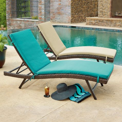 2PK CHAISE CUSHIONS TEAL