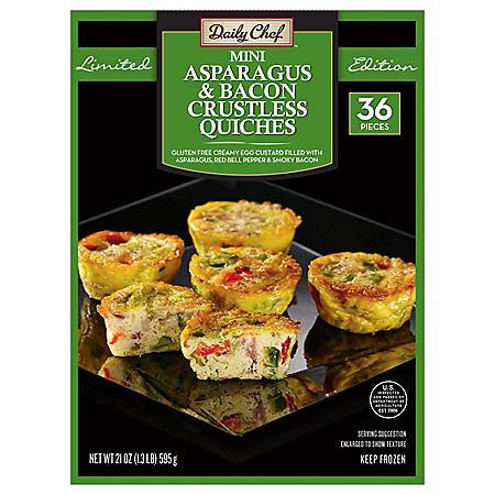 Daily Chef Mini Asparagus and Bacon Crustless Quiche (21 oz., 36 ct.)
