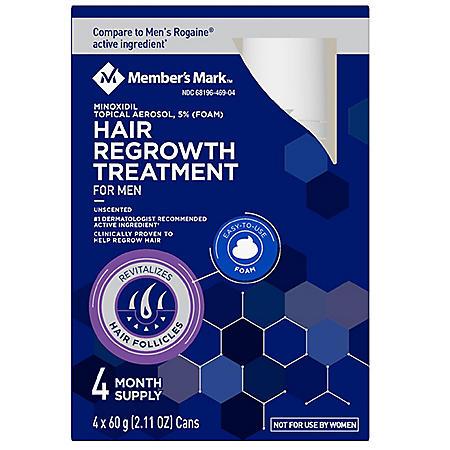 Member's Mark Hair Regrowth 5% Aerosol Foam (For Men) (2.11 oz., 4 ct.)