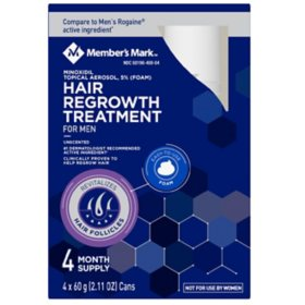 Member's Mark Hair Regrowth 5% Aerosol Foam (For Men) (2.11 oz., 4 ct.)