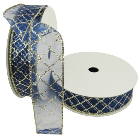 "Member's Mark Premium Wired Ribbon, Gold Glitter Lattice on Navy Sheer 1.5"" (2 pk., 50 yd. each)"