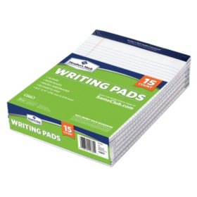 "Member's Mark Perforated Writing Pad, 8.5"" x 11"", White, 15ct."