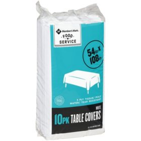 Member's Mark Classic White 3-Ply Tissue and Poly Tablecovers (10 pk.)