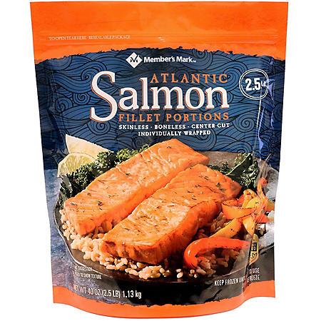 Member's Mark Atlantic Salmon Fillet Portions, Frozen (2.5 lbs.)