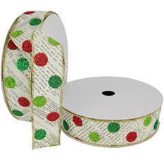 """Member's Mark Premium Wired Ribbon, Newsprint with Dots in Lime, Emerald and Red Glitter on Ivory Satin, 1.5"""" Wide (100 yards total, 2 pk.)"""